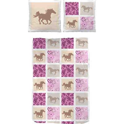 Pferdebettwäsche Kinderbettwäsche Pferde Cretonne Rosa Blau 135