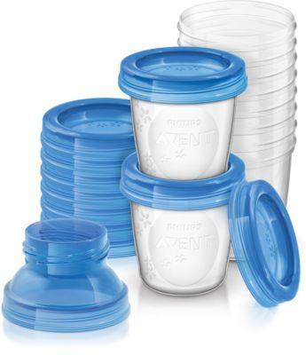 Muttermilch Becher SCF618/10, 10 x 180 ml inkl. Deckel und 2x Adapter