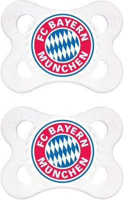 Schnuller Fußball, Silikon, Gr. 1, FC Bayern München rot/weiß