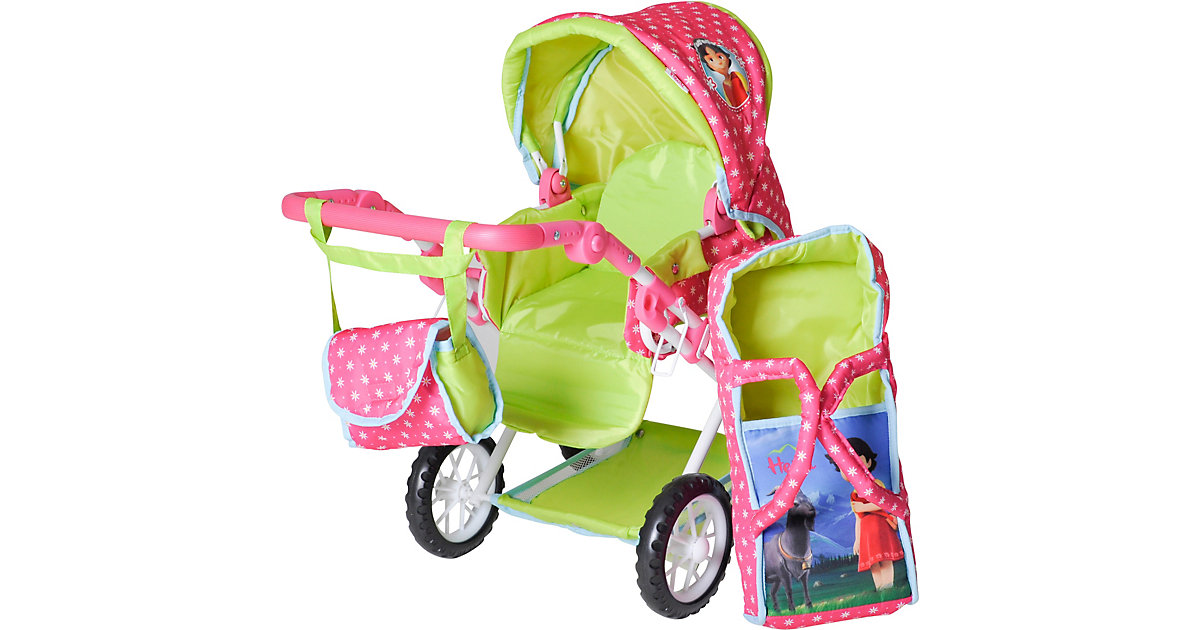 Kombi-Puppenwagen Ruby - Heidi grün/pink