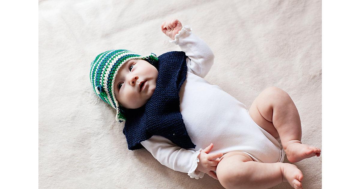 Häkelset Babymütze Carl, petrol/grün/creme