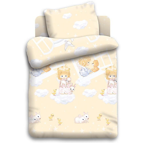 Детское постельное белье 3 предмета Непоседа, Ангелочки - бежевый от Непоседа