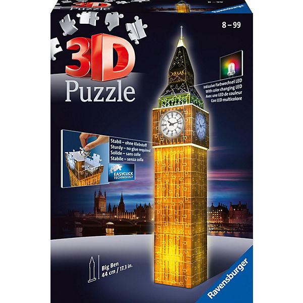 3-D Puzzle-Bauwerke Big Ben bei Nacht (mit LED Beleuchtung), Ravensburger