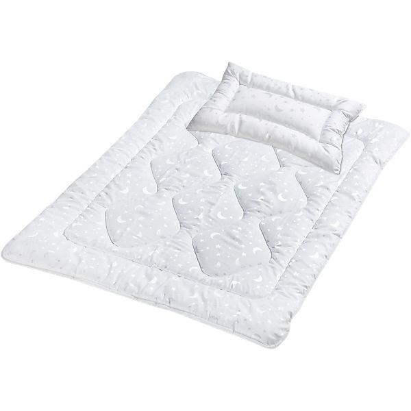 Kinder Bettdecke Kissen Set Mond Sterne Kunstfaser 100 X 135