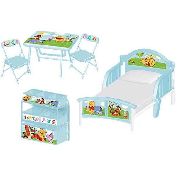 komplett kinderzimmer winnie the pooh 3 tlg kinderbett 6 boxenregal und kindersitzgruppe. Black Bedroom Furniture Sets. Home Design Ideas