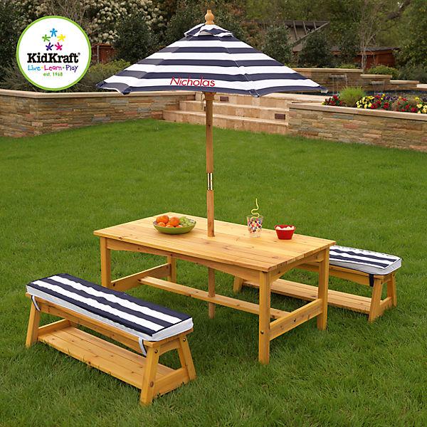 Gartentisch U0026 Bänke Mit Sitzkissen/Sonnenschirm