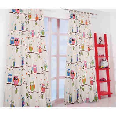 Verdunkelungsvorhang Kinderzimmer vorhang set eule inkl bügelband je 245 x 140 cm 2 schals mytoys