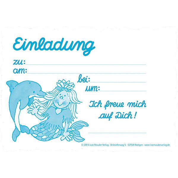 Einladungskarten Nixe Sina Seestern 8 Stück inkl Umschläge Lutz