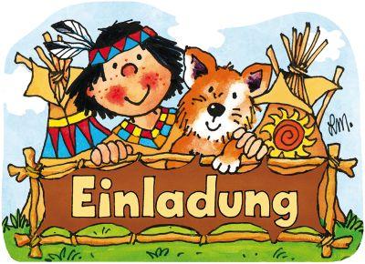 Einladungskarten Inkl. Umschlag Indianer Yanuk, 8 Stück ...
