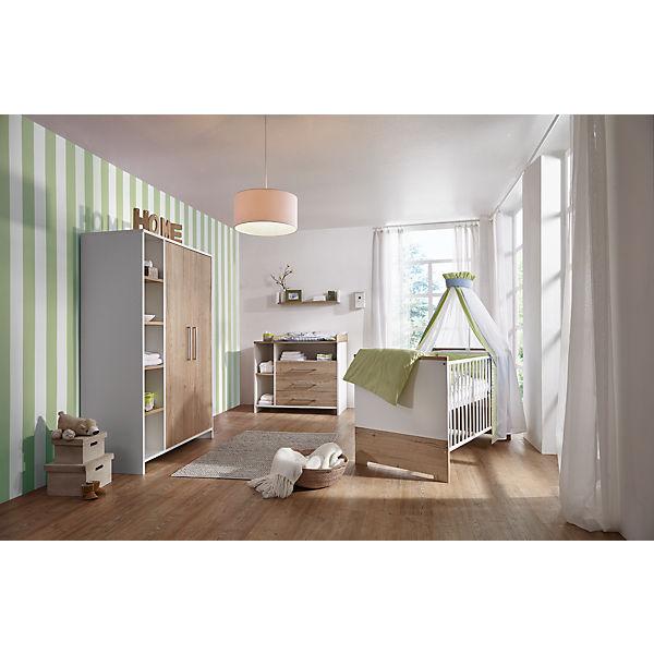 Komplett Kinderzimmer Eco Plus 3 Tlg Kinderbett Wickelkommode Und Kleiderschrank 2 Trg Weiss Halifax Eiche Schardt