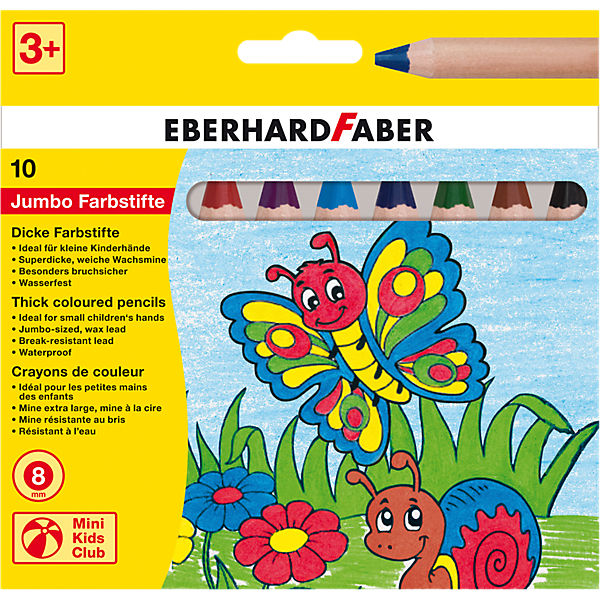Mini Kids Club Jumbo-Buntstifte, 10 Farben