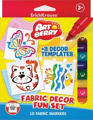 Набор для ткани (10 цветов, 3 трафарета), Artberry