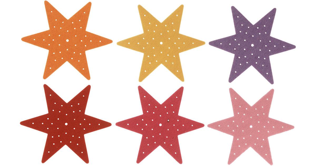 Filz-Stickplatten Stern Erste Stickübungen, 6 Stück