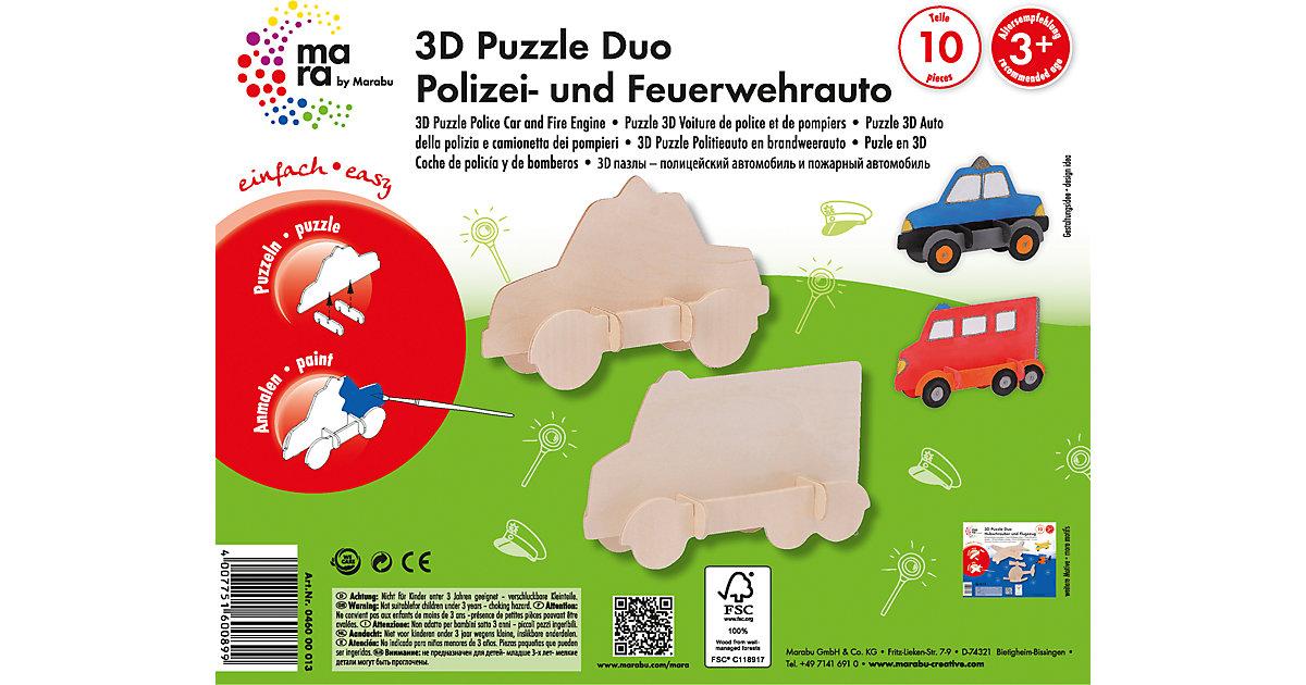 mara by Marabu 3D Puzzle Polizei- & Feuerwehrauto
