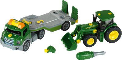 NEU!° Blister Siku 1650 John Deere Traktor mit Silagewagen grün//rot
