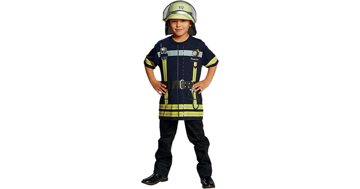 Spieleshirt Feuerwehr blau dunkelblau Gr. 128 Jungen Kinder