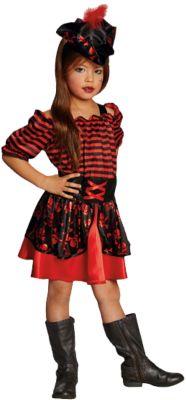 Kostüm Piratenkleid schwarz/rot Gr. 128 Mädchen Kinder