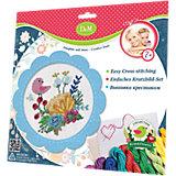 """Набор для вышивания крестиком """"Цветы и птицы"""" в голубой рамке"""