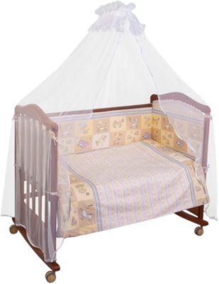 Комплект в кроватку 7 предметов Сонный гномик, Считалочка, бежевый