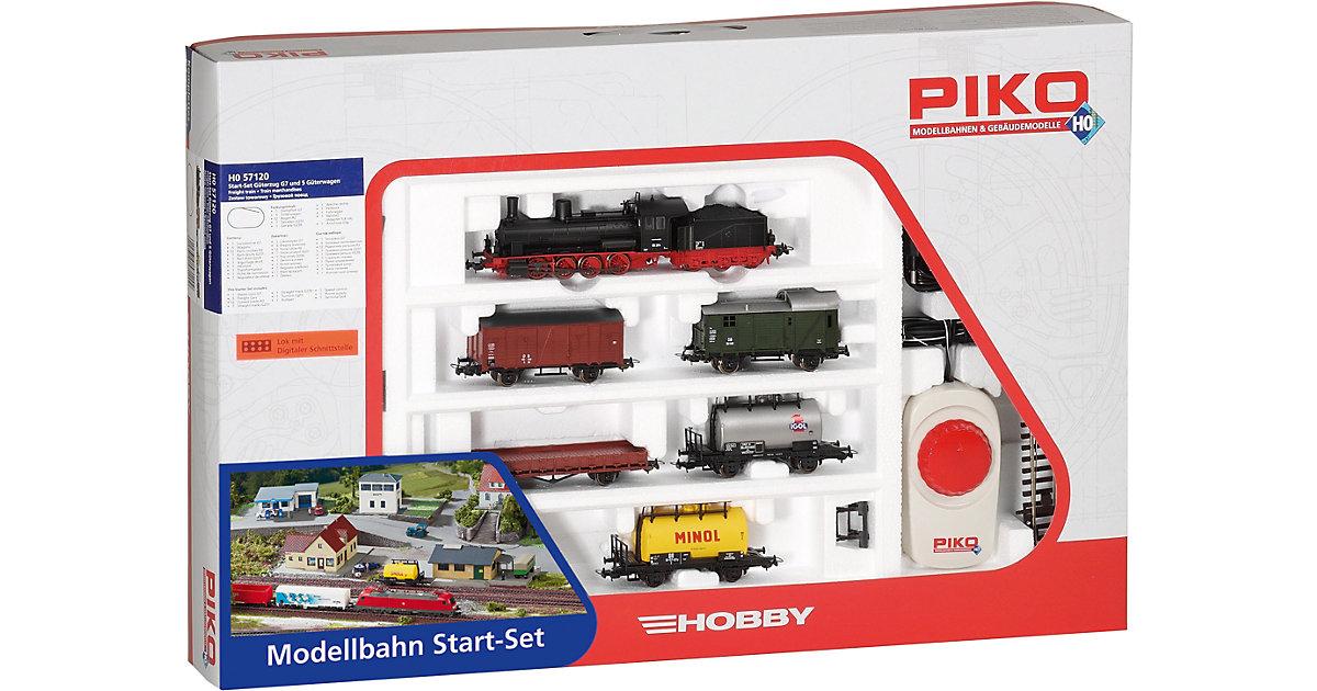 PIKO Spur H0 - Start-Set Güterzug Dampflok G7 +...