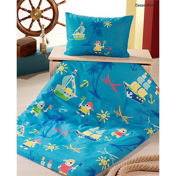 kinderbettw sche kleiner pirat cretonne blau 100 x 135 cm mytoys. Black Bedroom Furniture Sets. Home Design Ideas