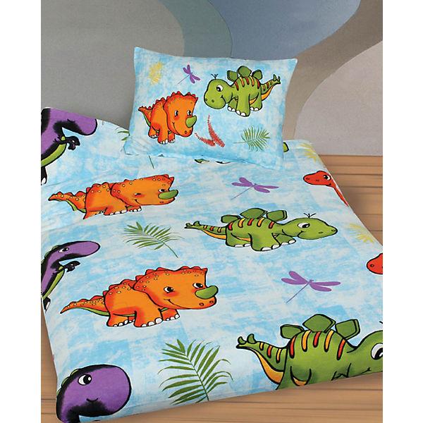 kinderbettw sche dinosaurier cretonne blau 100 x 135 cm mytoys. Black Bedroom Furniture Sets. Home Design Ideas