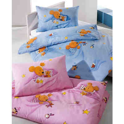 kinderbettw sche kuschelmaus cretonne blau 100 x 135 cm mytoys. Black Bedroom Furniture Sets. Home Design Ideas