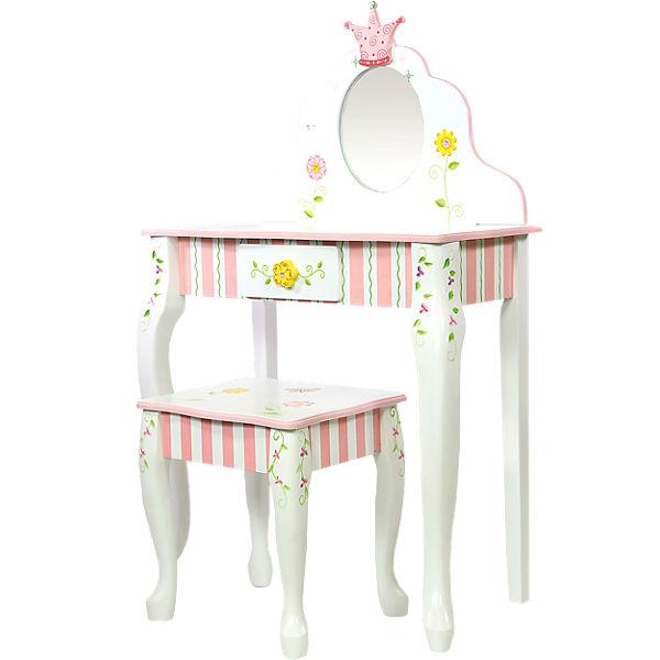 schminktisch mit spiegel und hocker froschk nig teilmassiv chic 2000 mytoys. Black Bedroom Furniture Sets. Home Design Ideas