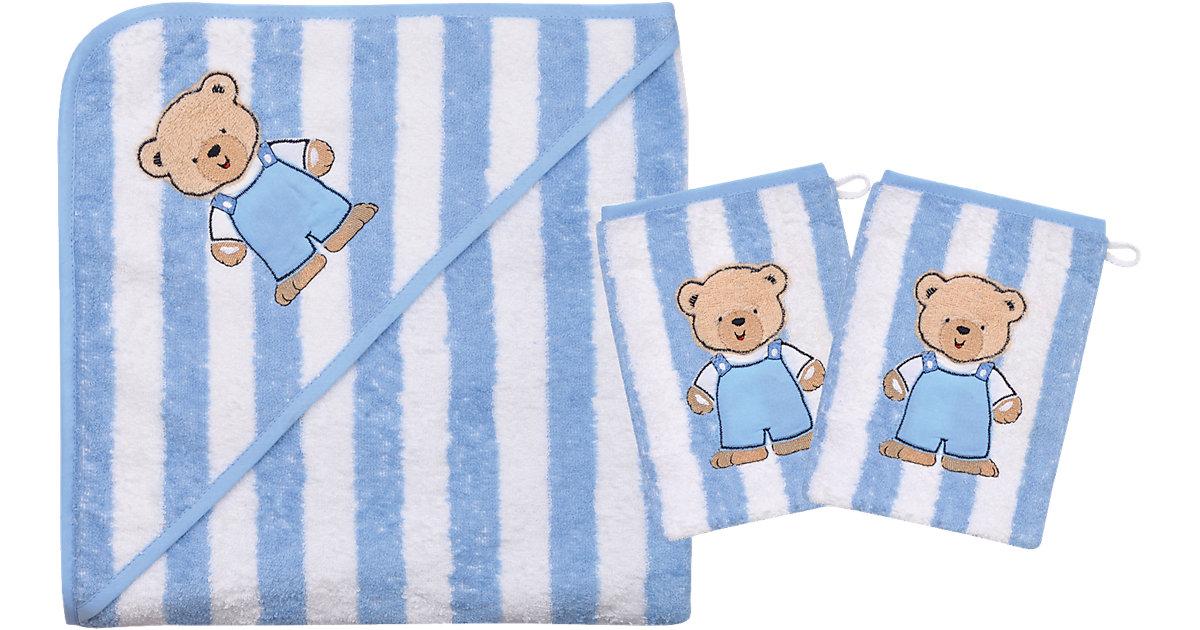 Wörner · Set Kapuzenbadetuch mit 2 Waschlappen, Teddy Ringel, hellblau, 80 x 80 cm
