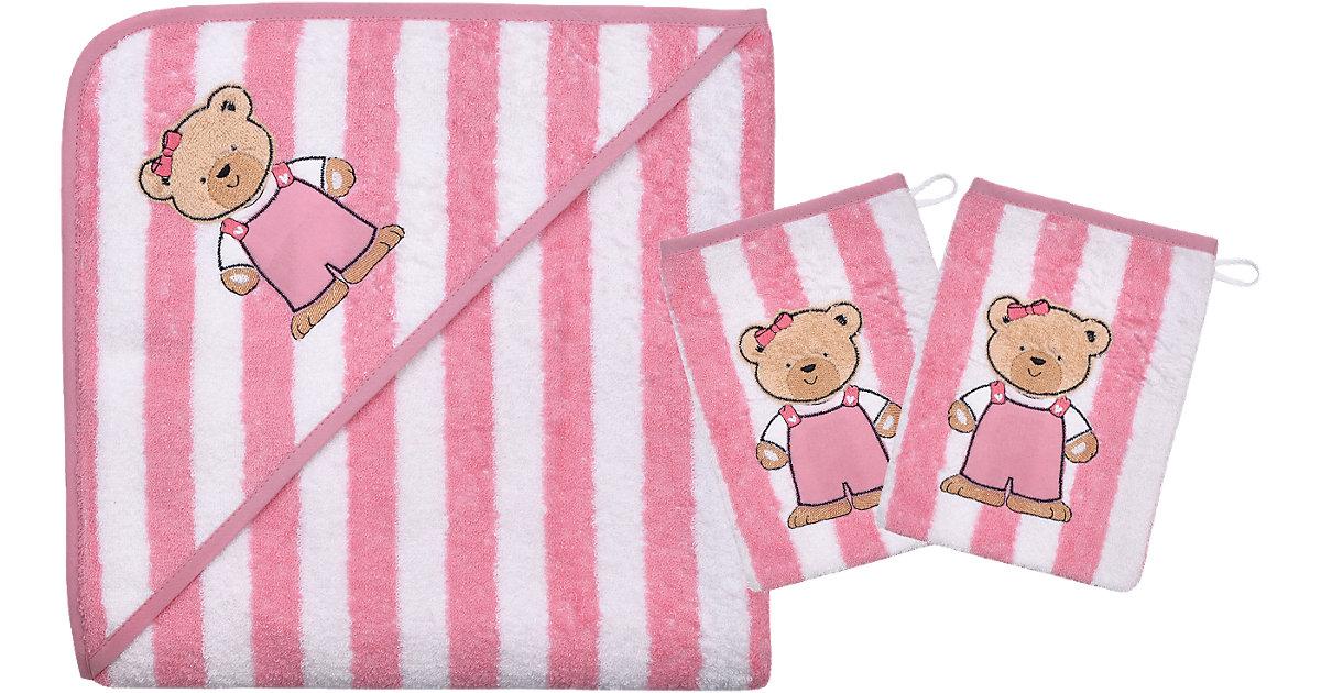 Wörner · Set Kapuzenbadetuch mit 2 Waschlappen, Teddy Ringel, rosa, 80 x 80 cm