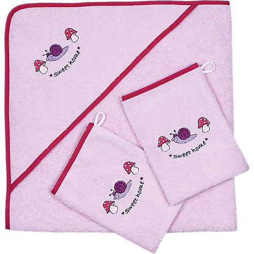 Wörner Set Kapuzenbadetuch mit 2 Waschlappen, Schnecke Sweet Home, rosa, 80 x cm Sale Angebote Kröppen