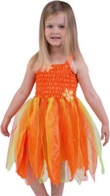 Kostüm zierliche Blumen-Fee mit Blätterrock orange Gr. 116 Mädchen Kinder