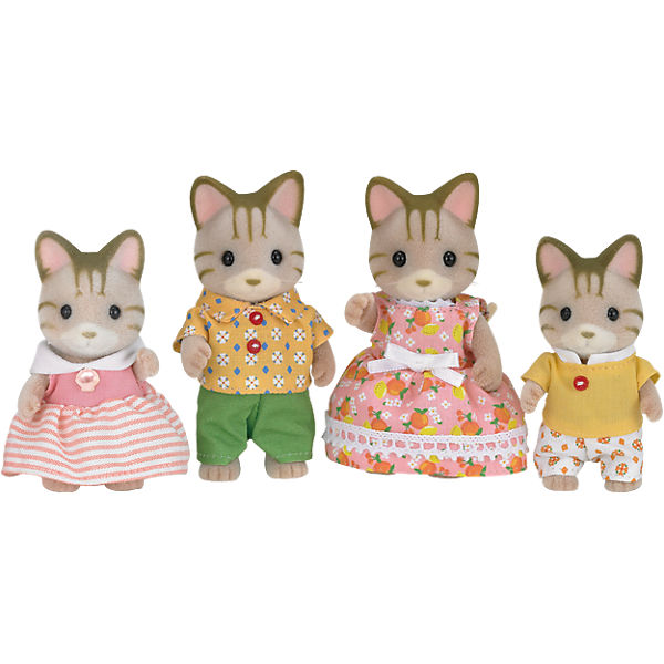 Sylvanian Families Seidenkatzen Familie Seidenthal Mutter Vater Katzen Figuren