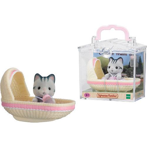 """Набор """"Младенец в пластиковом сундучке"""" (котенок в люльке), Sylvanian Families от Эпоха Чудес"""