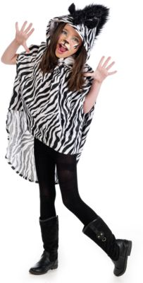 Kostüm Poncho Zebra Gr. 128/140 Mädchen Kinder