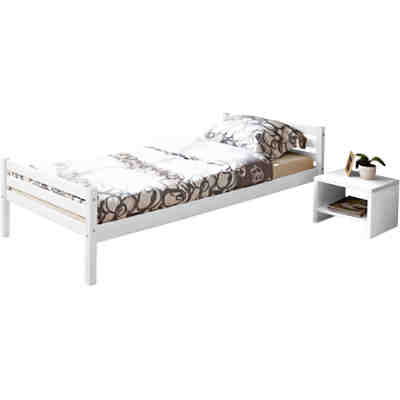 jugendbett nadine kiefer massiv wei 90x200 cm ticaa. Black Bedroom Furniture Sets. Home Design Ideas