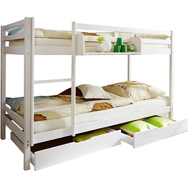 etagenbett ren kiefer massiv wei 90 x 200 cm ticaa. Black Bedroom Furniture Sets. Home Design Ideas