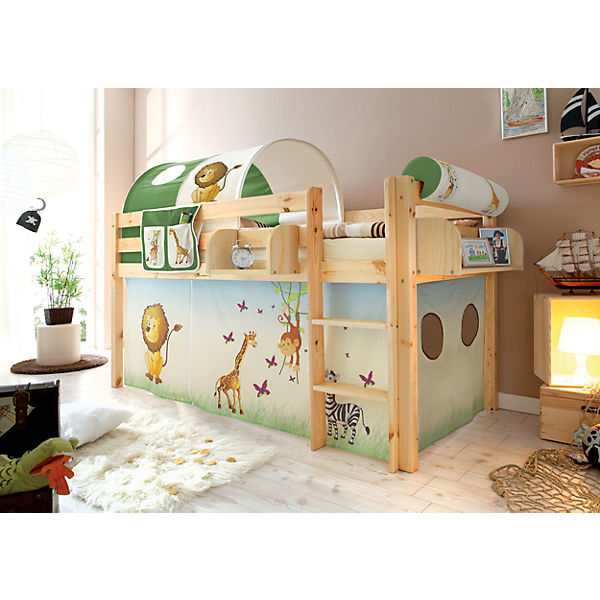 hochbett malte kiefer massiv natur 90 x 200 cm safari ticaa mytoys. Black Bedroom Furniture Sets. Home Design Ideas