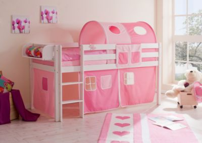 Hochbett Malte, Kiefer Massiv Weiß, 90 X 200 Cm, Rosa Pink