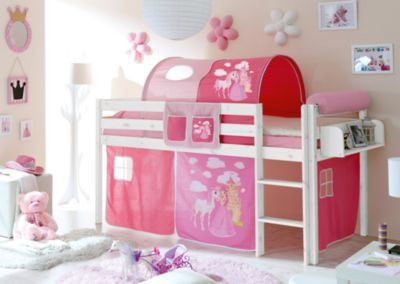 Kinderhochbett weiß  Hochbett Malte, Kiefer massiv weiß, 90 x 200 cm, Pferde pink ...