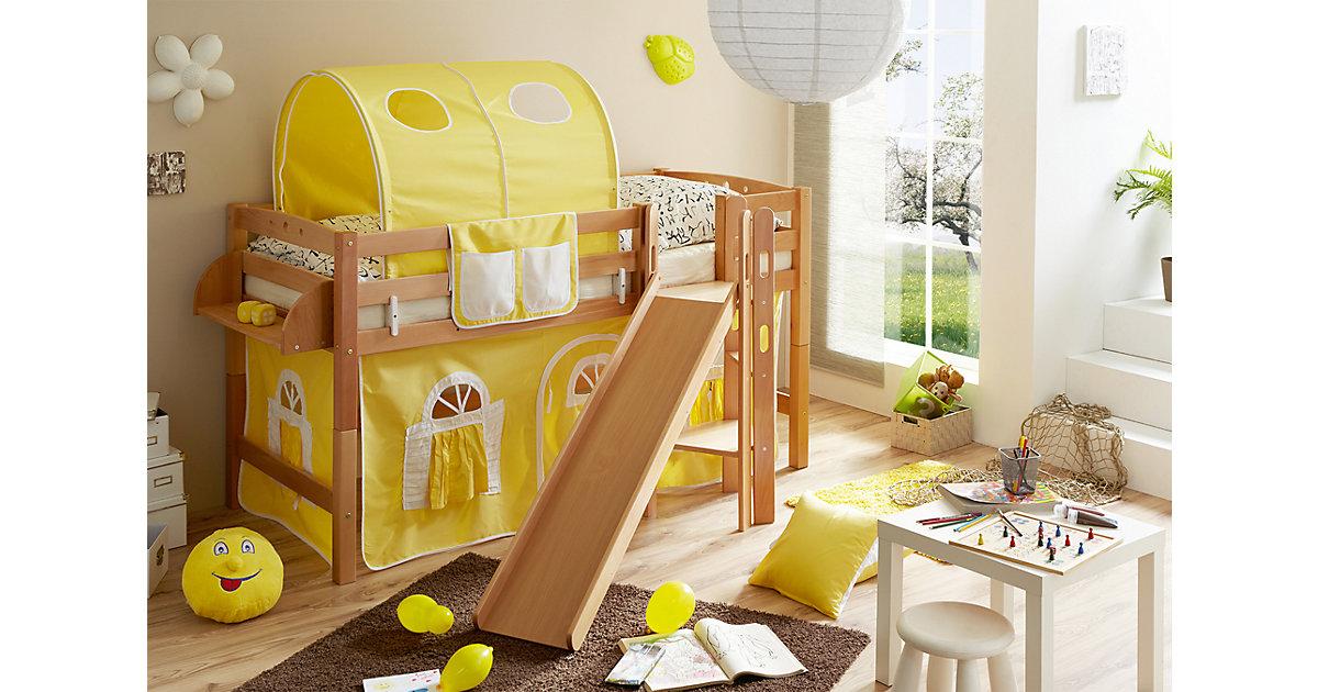 Spielbett mit Podest und Rutsche Tino, Buche massiv, natur, 90 x 200 cm, gelb-weiß