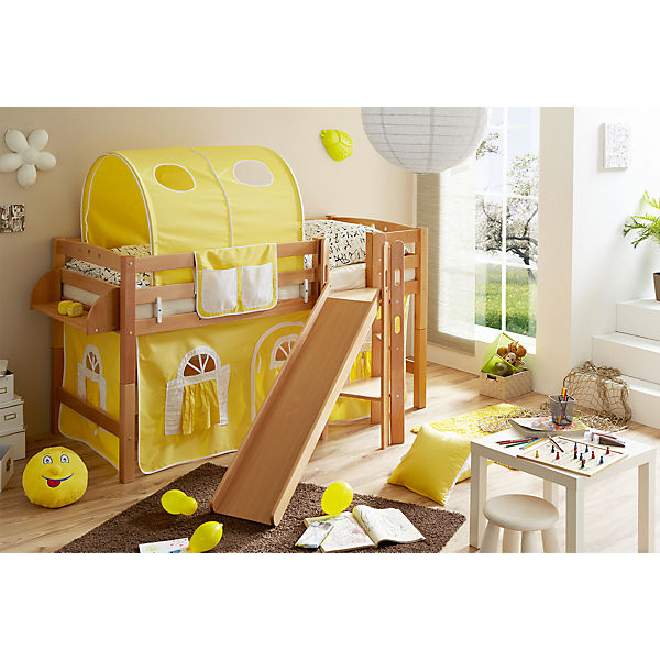 spielbett mit podest und rutsche tino buche massiv natur 90 x 200 cm gelb wei ticaa mytoys. Black Bedroom Furniture Sets. Home Design Ideas