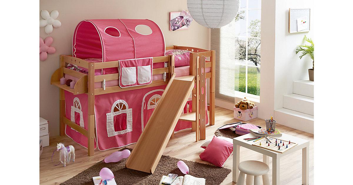 Spielbett mit Podest und Rutsche Tino, Buche massiv, natur, 90 x 200 cm, rosa-weiß