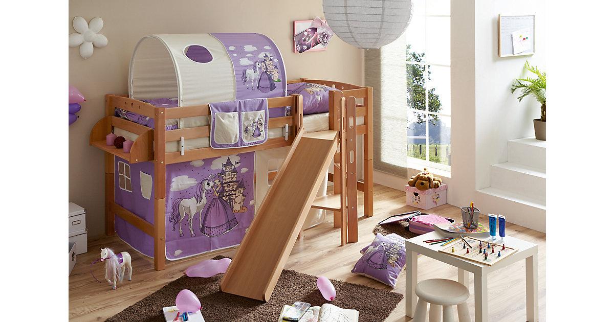 Spielbett mit Podest und Rutsche Tino, Buche massiv, natur, 90 x 200 cm, Pferde lila