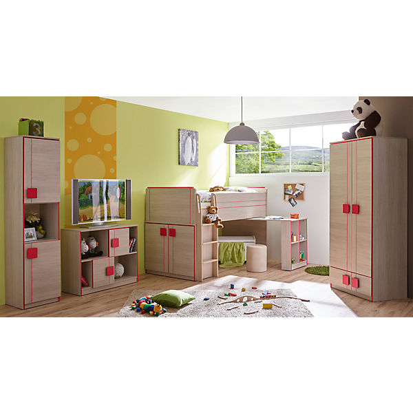 komplett jugendzimmer camo 4 tlg hochbett kleiderschrank standregal kommode rot ticaa. Black Bedroom Furniture Sets. Home Design Ideas