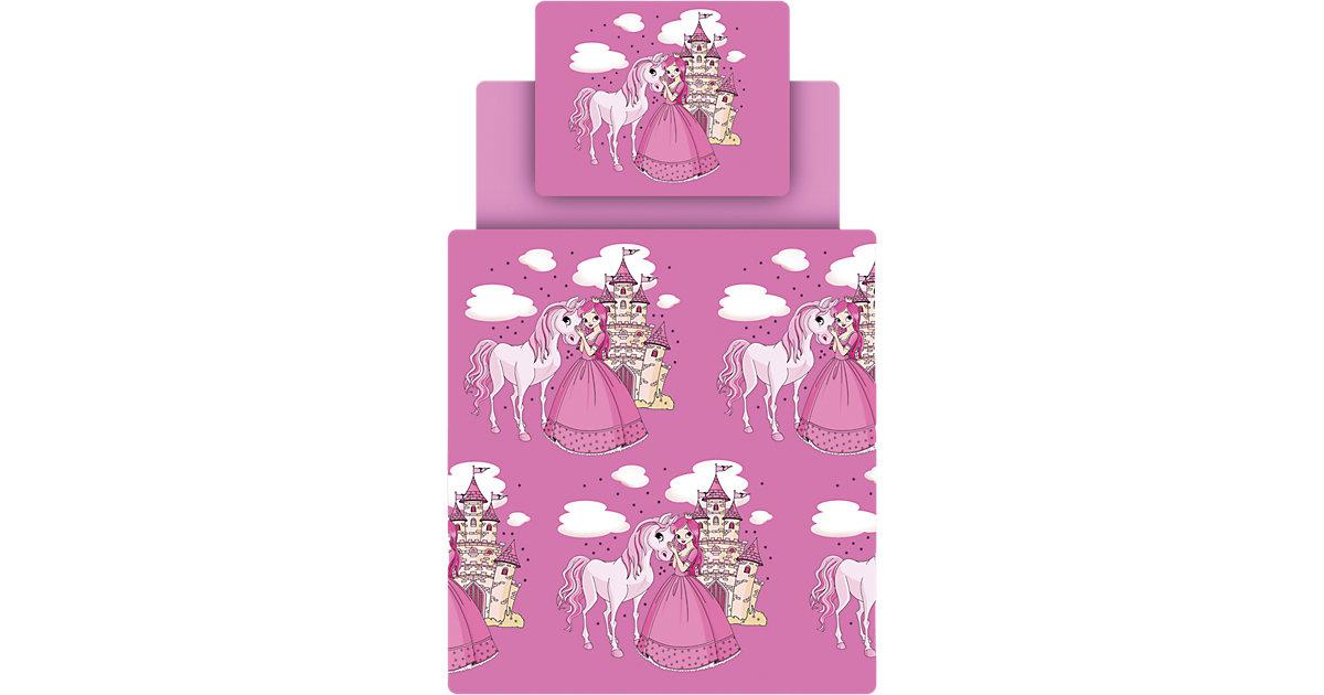 Bettwäsche Set Prinzessin inkl. Spannbettlaken, pink, 135 x 200 cm