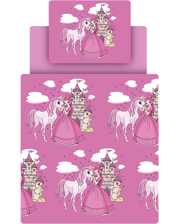 Bettwäsche Set Prinzessin Inkl Spannbettlaken Pink 135 X 200 Cm
