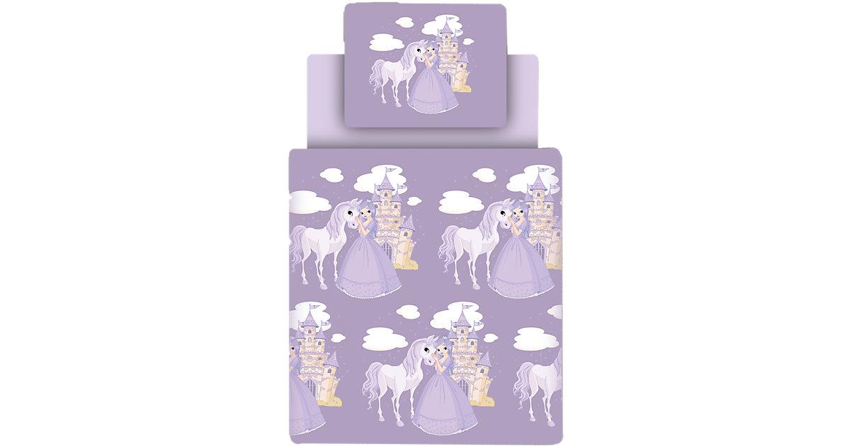 Bettwäsche Set Prinzessin inkl. Spannbettlaken, lila, 135 x 200 cm