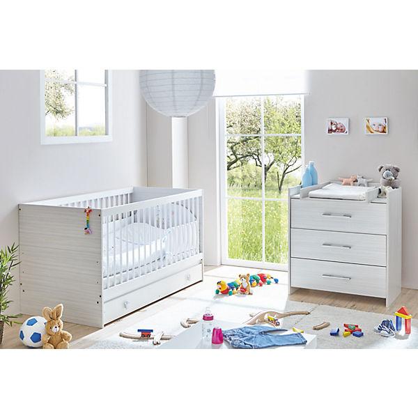 Babyzimmer Leona, 3-tlg. (Kinderbett, Schubkasten, Wickelkommode ...