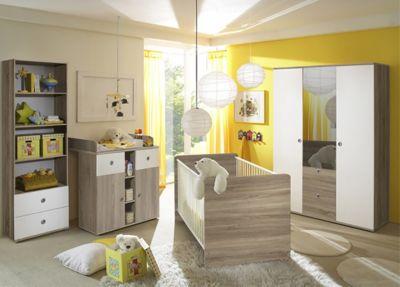 Babyzimmer Milu II, 4 Tlg. (Kleiderschrank 3 Trg., Babybett